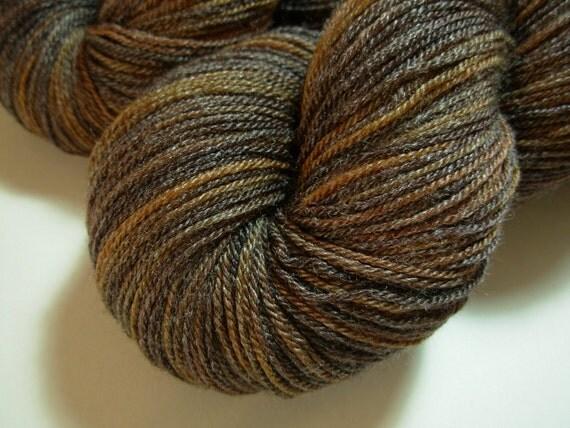 Sock Weight Superwash Merino Wool/Bamboo Yarn, Hand Dyed - Chestnut Multi