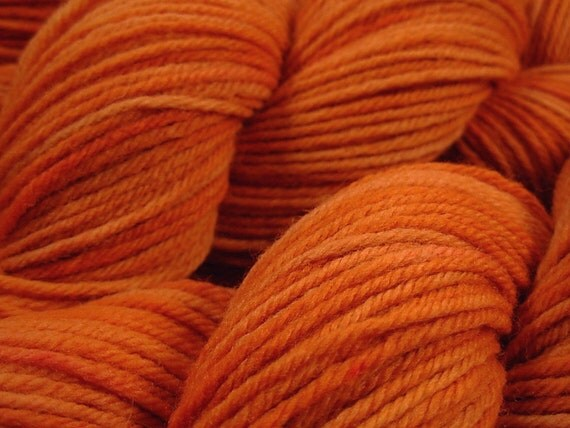 Worsted Weight Wool Yarn - Carrot - Hand Dyed Yarn, Knitting Supplies