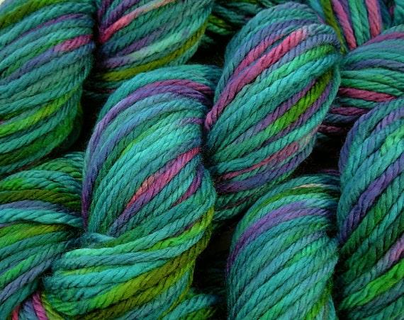 Hand Dyed Yarn - Bulky Weight Superwash Merino Wool Yarn - Aegean Multi - Knitting Crochet Craft Supplies