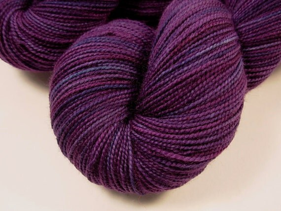 Sock Weight Superwash Merino Wool Yarn, Hand Dyed - Blackberry Tonal