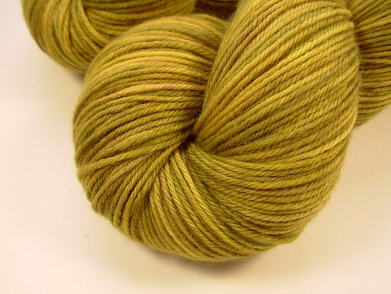 Sport Weight Superwash Merino Wool Yarn - Old Gold - Hand Dyed Yarn, Knitting Supplies