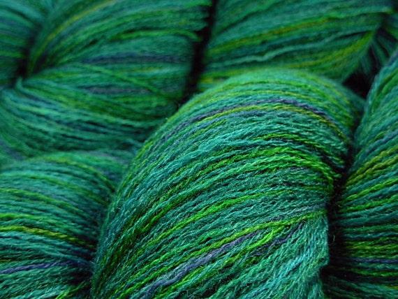 Fine Lace Weight Merino Wool/Silk Yarn, Hand Dyed - Peacock Multi