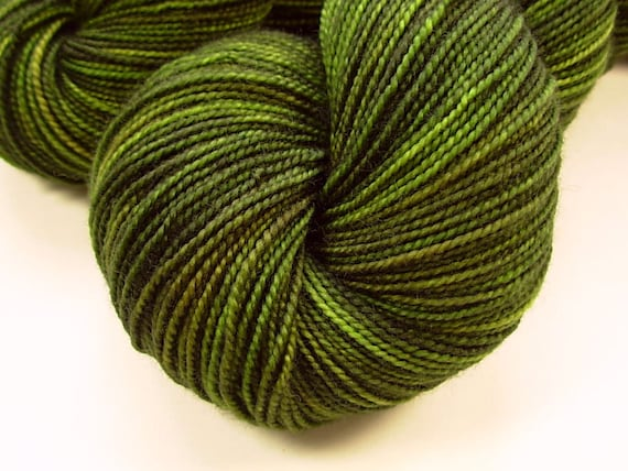 Sock Weight Superwash Merino Wool Yarn, Hand Dyed - Moss Tonal