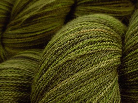 Lace Weight Merino Wool Yarn - Moss Tonal - Hand Dyed Yarn, Knitting Supplies