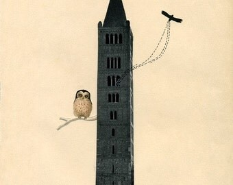 Haunted House II - Print - Dark Tower with Owl on a Tree Branch and Brack Bird / Bat Flying on Vintage Paper