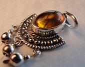 STERLING AMBER PENDANT Reclaimed for Crafting Jewelry Making