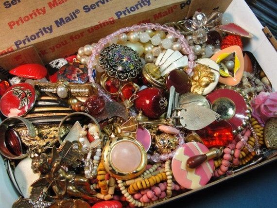 Vintage JEWELRY Pink Red DESTASH Lot Small Flat Rate Box 2 lbs