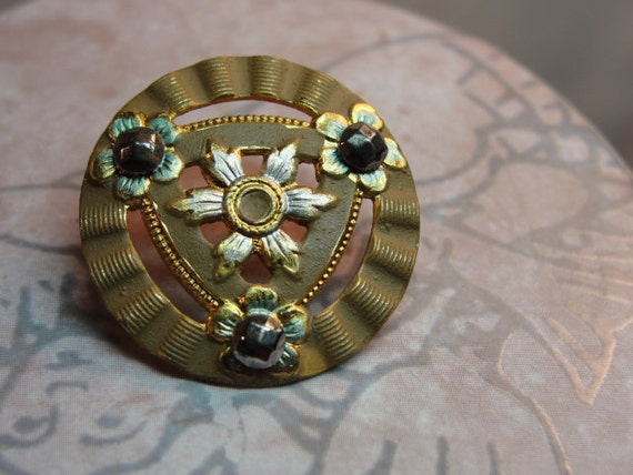 "Vintage metal Goldtoned Button 7/8"" Art Deco Steel Cut"