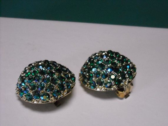 Vintage AB crystal blue green goldtone button clip earrings costume jewelry