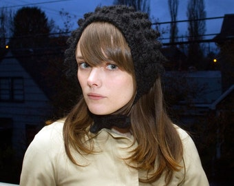 Hand Knit GRETL HEADDRESS in Black / 10 Colors Available