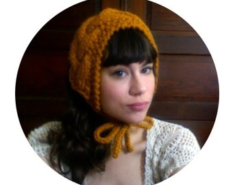 Hand Knit MILKMAID HEADDRESS in GOLD / 10 Colors Available