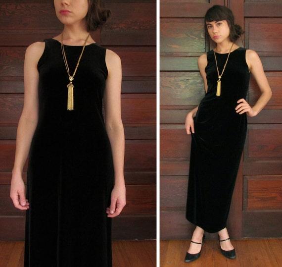 1990s VELVET COLUMN MAXI-Dress Sleeveless Black M