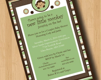 New Little Monkey - Baby Shower Invitations - Digital Design Only