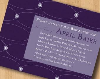 Circles and Flowers - Bridal Shower Invitations - Digital Design