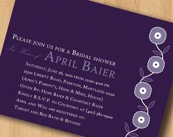 Vine of Flowers - Bridal Shower Invitations - Digital Design