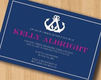 Nautical Interlocking - Bridal Shower Invitations - Design Only