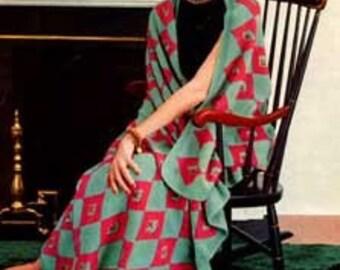 Harlequin Afghan Knitting Pattern PDF Instant Download