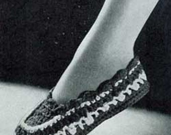 Vintage Women Moccasins Slippers Crochet Pattern  PDF Instant Download