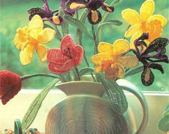 Beautiful Crochet Flowers Pattern Tulip Daffodil Iris Leaves PDF Instant Download