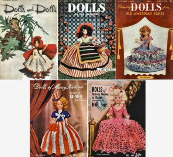 5 Vintage Doll Clothes Crochet Pattern Books Pdf INSTANT DOWNLOAD