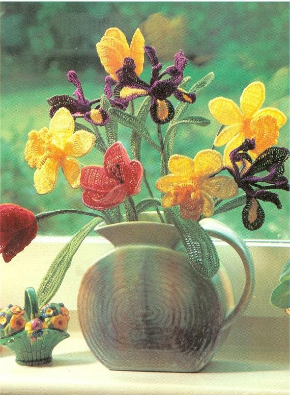 Crochet Iris Flower Pattern : Beautiful Crochet Flowers Pattern Tulip Daffodil Iris Leaves
