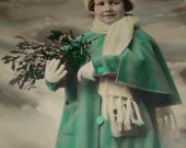 Cute Hand Tinted Real Photo Postcard Little Girl in Green Coat