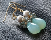 ON SALE - Refresh - Chalcedony, Topaz, Freshwater Pearl and 14k Gold Filled Earrings