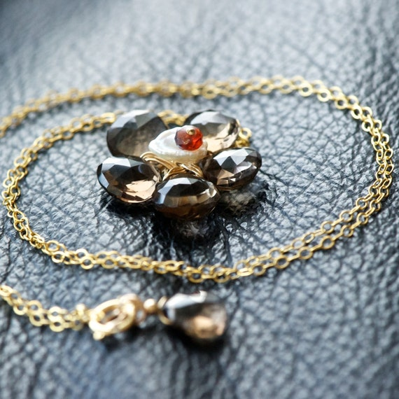Golden Bloom - Smokey Quartz, Keishi Pearl, Garnet and 14K Gold Filled Necklace