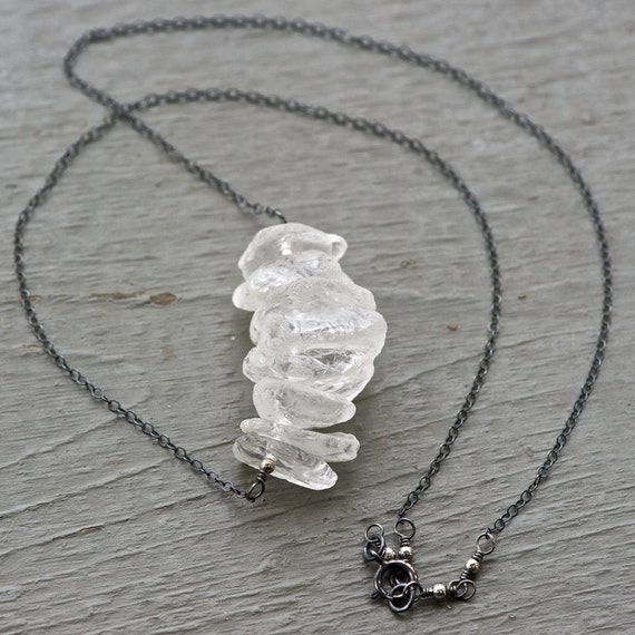Shards In The Ashes - Hammered Faceted Rock Crystal and Oxidized Sterling Silver Necklace
