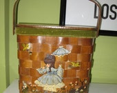 70s Hand Painted Basket Purse