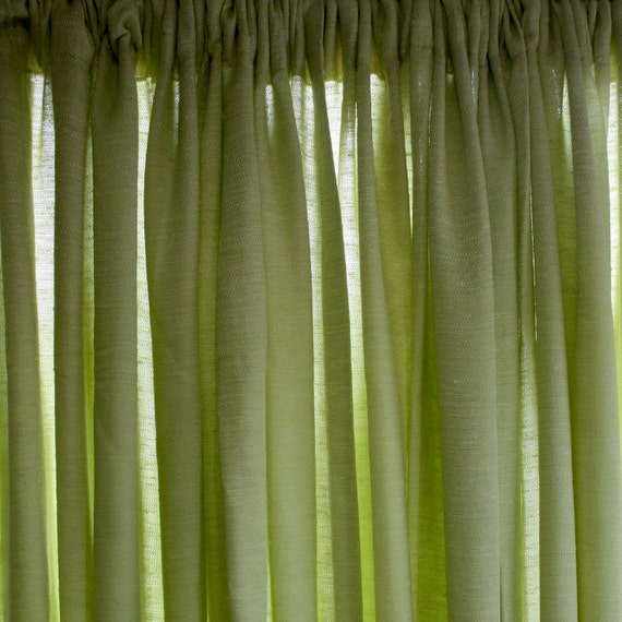 60s Celery Green Rayon Drapery Panels Curtains 3 by cherryfrocks