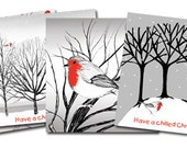 Hand drawn Christmas cards based on trees and robins - 4 pack