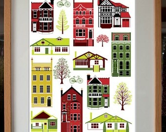 Houses of different styles digital art print