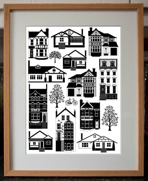 Mixed Houses Digital Art Print