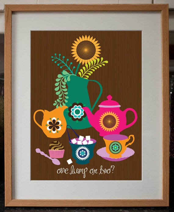 Retro Kitchen Shelves Art Print By Natalie Singh: Items Similar To One Lump Or Two