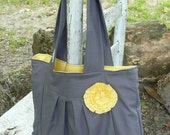 Free shipping.... Gray and Yellow pleated purse with rosette, made just for you