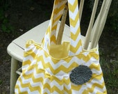 The Katie... yellow chevron with gray rosette,  pleated purse with  rosette