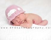 Crochet Baby Girl Hat - Crochet Photography Prop - Shower Gift - Pink - Size Newborn, 0-3 mos, 3-6 mos
