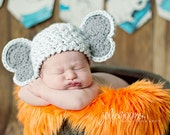 Elephant Hat  - Crochet Photography Prop - Baby Girl or Boy Crochet Hat - size newborn, 3-6 mos