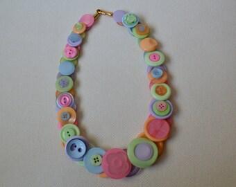 Citris Splash Pastel Button Necklace