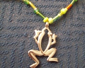 Multi colored beaded frog necklace