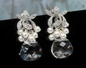 Swarovski Crystal Earrings, Wedding Jewelry for Brides, Bridal Earrings Drop, Vintage Style Wedding Jewellery, Cluster Earrings