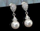 Drop Pearl Earrings, Stud Earring Bridal, Wedding Jewelry Bridal Earrings, Post Earrings, Pearl Wedding earrings