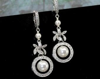 Pearl Earrings, Bridal Earrings Drop, Vintage Style Wedding Jewellery, Pearl Bridal Earrings, Drop Pearl Earrings, Pearl Wedding Earrings