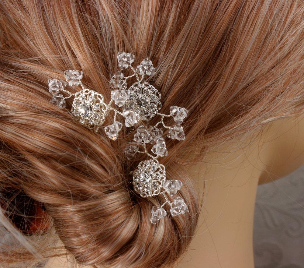 Baby S Breath In Hair: Crystal Baby's Breath Bridal Hair Combs Wedding Hair