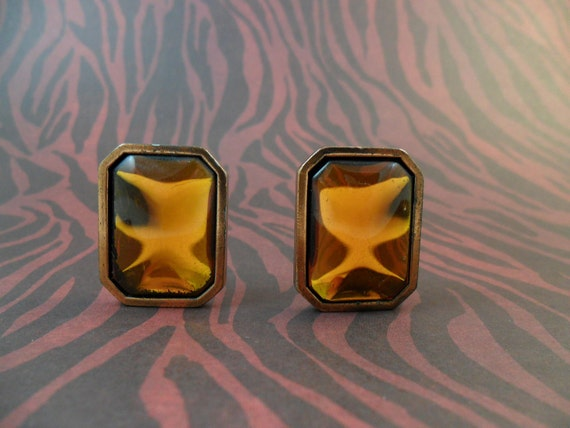 YSL pierced EARRINGS  Amber color stone On Copper Yves Saint Laurent Clearance Sale