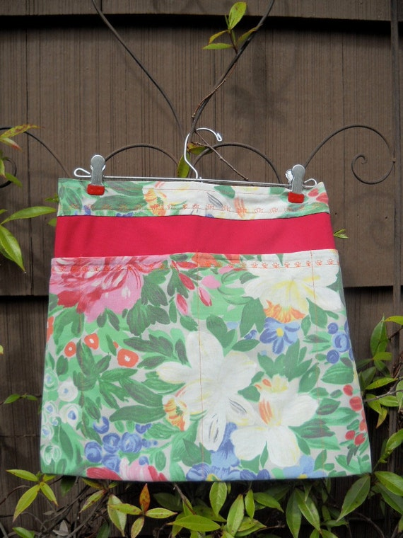 NEW PRICE--BBQ or Garden Apron made with Upcycled Vintage Tablecloth