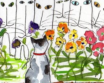 Cat Art Print - Cat's Garden