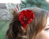 MARVELOUS MUSINGS red flower and taupe peacock feather fascinator