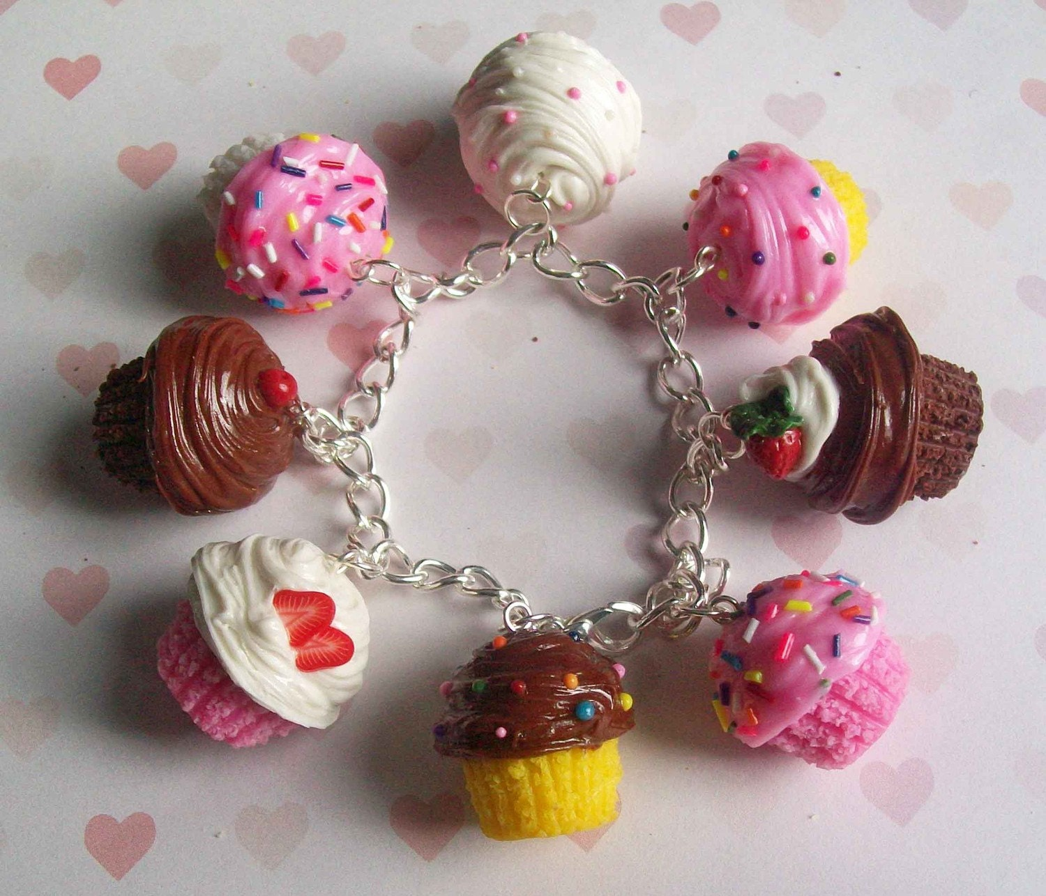 Polymer Clay Cupcake Charm Bracelet By ScrumptiousDoodle
